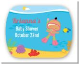 Under the Sea Hispanic Baby Girl Snorkeling - Personalized Baby Shower Rounded Corner Stickers
