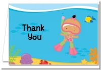 Under the Sea Hispanic Baby Girl Snorkeling - Baby Shower Thank You Cards
