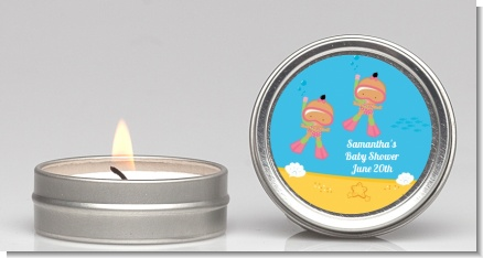 Under the Sea Hispanic Baby Girl Twins Snorkeling - Baby Shower Candle Favors