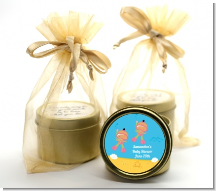 Under the Sea Hispanic Baby Girl Twins Snorkeling - Baby Shower Gold Tin Candle Favors