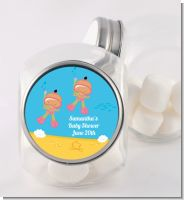 Under the Sea Hispanic Baby Girl Twins Snorkeling - Personalized Baby Shower Candy Jar