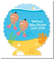 Under the Sea Hispanic Baby Girl Twins Snorkeling - Personalized Baby Shower Centerpiece Stand