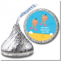 Under the Sea Hispanic Baby Girl Twins Snorkeling - Hershey Kiss Baby Shower Sticker Labels