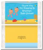 Under the Sea Hispanic Baby Girl Twins Snorkeling - Personalized Popcorn Wrapper Baby Shower Favors