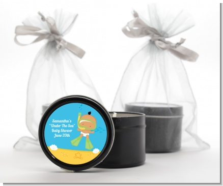 Under the Sea Hispanic Baby Snorkeling - Baby Shower Black Candle Tin Favors