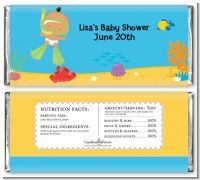 Under the Sea Hispanic Baby Snorkeling - Personalized Baby Shower Candy Bar Wrappers