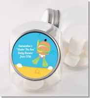 Under the Sea Hispanic Baby Snorkeling - Personalized Baby Shower Candy Jar