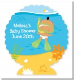 Under the Sea Hispanic Baby Snorkeling - Personalized Baby Shower Centerpiece Stand