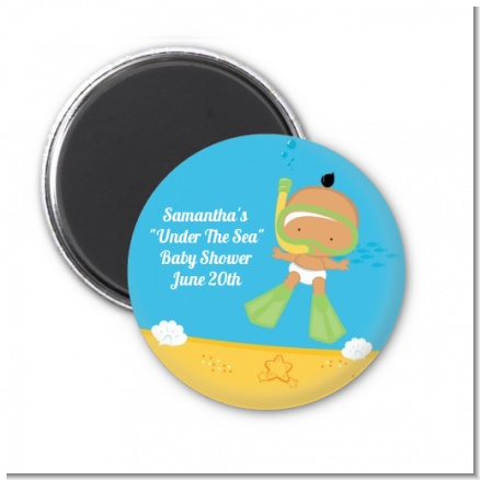 Under the Sea Hispanic Baby Snorkeling - Personalized Baby Shower Magnet Favors
