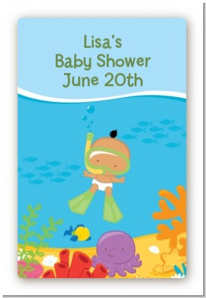 Under the Sea Hispanic Baby Snorkeling - Custom Large Rectangle Baby Shower Sticker/Labels