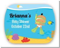 Under the Sea Hispanic Baby Snorkeling - Personalized Baby Shower Rounded Corner Stickers