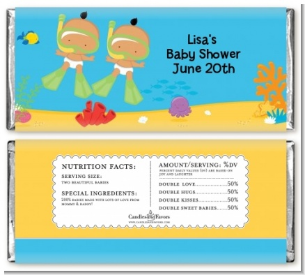 Under the Sea Hispanic Baby Twins Snorkeling - Personalized Baby Shower Candy Bar Wrappers