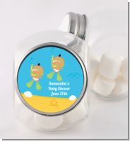 Under the Sea Hispanic Baby Twins Snorkeling - Personalized Baby Shower Candy Jar