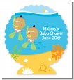 Under the Sea Hispanic Baby Twins Snorkeling - Personalized Baby Shower Centerpiece Stand thumbnail