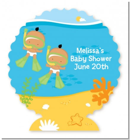 Under the Sea Hispanic Baby Twins Snorkeling - Personalized Baby Shower Centerpiece Stand