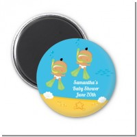 Under the Sea Hispanic Baby Twins Snorkeling - Personalized Baby Shower Magnet Favors