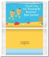 Under the Sea Hispanic Baby Twins Snorkeling - Personalized Popcorn Wrapper Baby Shower Favors