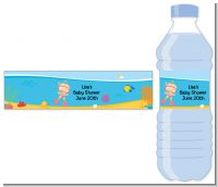 Under the Sea Baby Girl Snorkeling - Personalized Baby Shower Water Bottle Labels