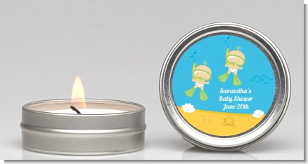 Under the Sea Twin Babies Snorkeling - Baby Shower Candle Favors