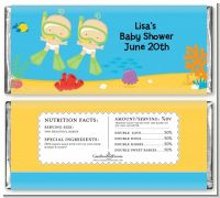 Under the Sea Twin Babies Snorkeling - Personalized Baby Shower Candy Bar Wrappers