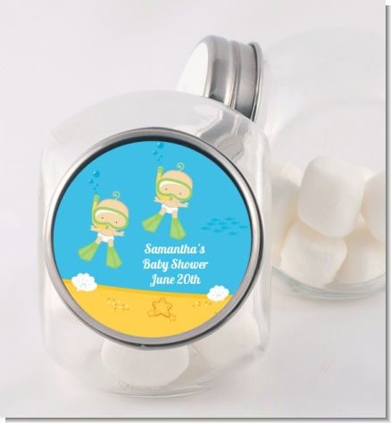 Under the Sea Twin Babies Snorkeling - Personalized Baby Shower Candy Jar