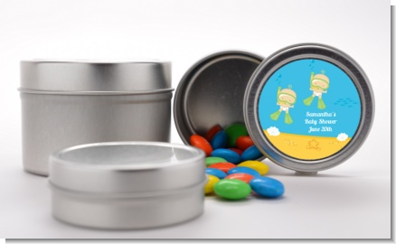 Under the Sea Twin Babies Snorkeling - Custom Baby Shower Favor Tins
