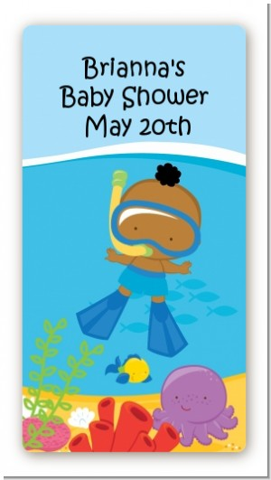 Under the Sea African American Baby Boy Snorkeling - Custom Rectangle Baby Shower Sticker/Labels