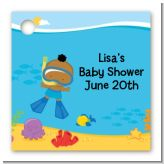 Under the Sea African American Baby Boy Snorkeling - Personalized Baby Shower Card Stock Favor Tags