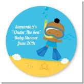 Under the Sea African American Baby Boy Snorkeling - Round Personalized Baby Shower Sticker Labels