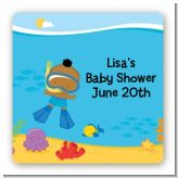 Under the Sea African American Baby Boy Snorkeling - Square Personalized Baby Shower Sticker Labels