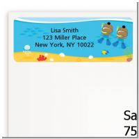 Under the Sea African American Baby Boy Twins Snorkeling - Baby Shower Return Address Labels