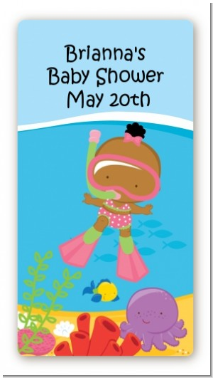 Under the Sea African American Baby Girl Snorkeling - Custom Rectangle Baby Shower Sticker/Labels