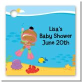 Under the Sea African American Baby Girl Snorkeling - Personalized Baby Shower Card Stock Favor Tags
