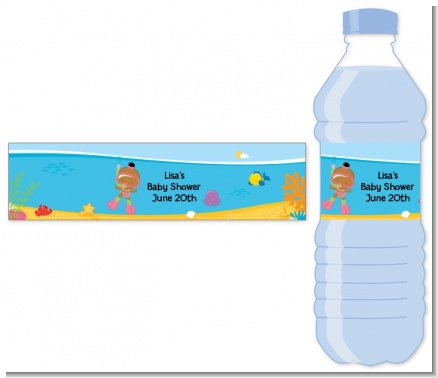 Under the Sea African American Baby Girl Snorkeling - Personalized Baby Shower Water Bottle Labels