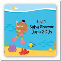 Under the Sea African American Baby Girl Snorkeling - Square Personalized Baby Shower Sticker Labels