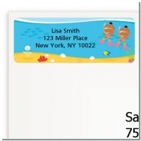 Under the Sea African American Baby Girl Twins Snorkeling - Baby Shower Return Address Labels
