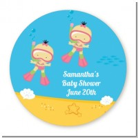 Under the Sea African American Baby Girl Twins Snorkeling - Round Personalized Baby Shower Sticker Labels