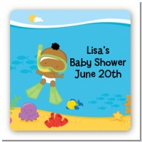 Under the Sea African American Baby Snorkeling - Square Personalized Baby Shower Sticker Labels