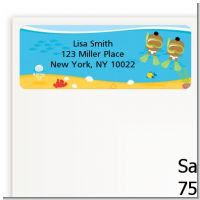 Under the Sea African American Baby Twins Snorkeling - Baby Shower Return Address Labels