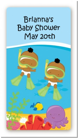 Under the Sea African American Baby Twins Snorkeling - Custom Rectangle Baby Shower Sticker/Labels