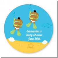 Under the Sea African American Baby Twins Snorkeling - Round Personalized Baby Shower Sticker Labels