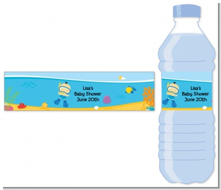 Under the Sea Asian Baby Boy Snorkeling - Personalized Baby Shower Water Bottle Labels