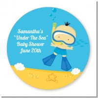 Under the Sea Asian Baby Boy Snorkeling - Round Personalized Baby Shower Sticker Labels