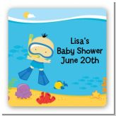 Under the Sea Asian Baby Boy Snorkeling - Square Personalized Baby Shower Sticker Labels