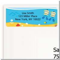 Under the Sea Asian Baby Boy Twins Snorkeling - Baby Shower Return Address Labels