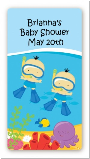 Under the Sea Asian Baby Boy Twins Snorkeling - Custom Rectangle Baby Shower Sticker/Labels