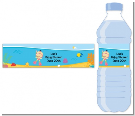 Under the Sea Asian Baby Girl Snorkeling - Personalized Baby Shower Water Bottle Labels