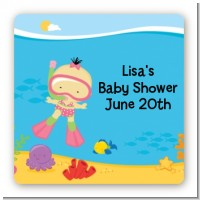 Under the Sea Asian Baby Girl Snorkeling - Square Personalized Baby Shower Sticker Labels