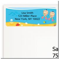 Under the Sea Asian Baby Girl Twins Snorkeling - Baby Shower Return Address Labels