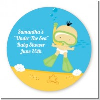 Under the Sea Asian Baby Snorkeling - Round Personalized Baby Shower Sticker Labels